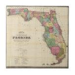 O mapa novo Drew do estado do Flórida Azulejo Quadrado Pequeno
