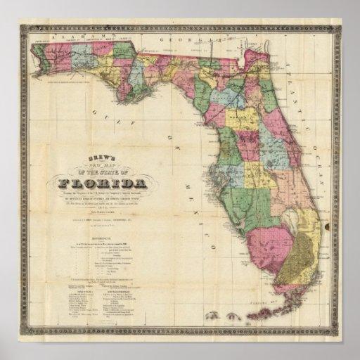 O mapa novo Drew do estado do Flórida Impressão