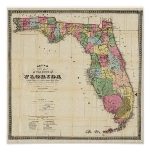 O mapa novo Drew do estado do Flórida Poster