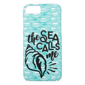 O mar chama-me capa de telefone na onda azul