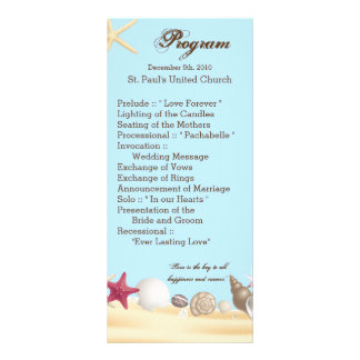 o mar da praia do programa do casamento 25 4x9 10.16 x 22.86cm panfleto