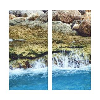 O mar lavado balança o painel dois impressão em tela