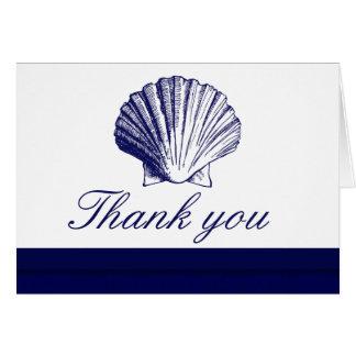O mar Shell dos azuis marinhos agradece-lhe cartõe Cartão De Nota