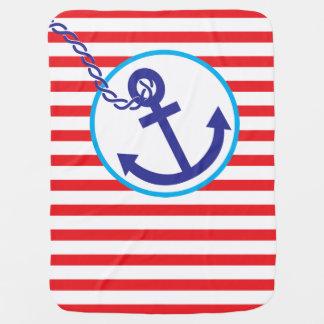 O marinheiro náutico da corda da âncora listra a manta de bebe