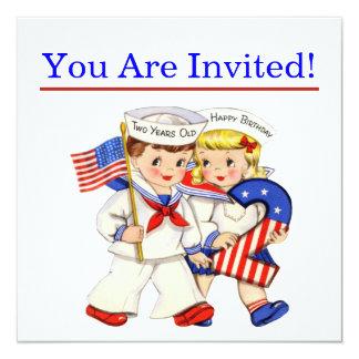 O marinheiro pequeno junta o invitiation do convite quadrado 13.35 x 13.35cm