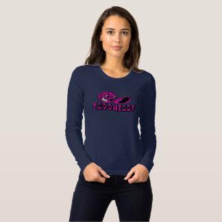 O marinho das mulheres & T longo cor-de-rosa de Camiseta