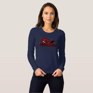 O marinho das mulheres & T longo vermelho de Camiseta