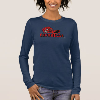 O marinho das mulheres & T longo vermelho de Camiseta Manga Longa