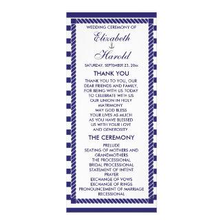 O marinho náutico elegante do casamento listra o 10.16 x 22.86cm panfleto