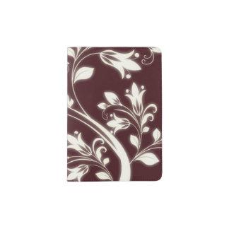 O marrom floresce o suporte do passaporte capa para passaporte