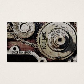 o mecânico repara o modelo de cartão de negócios