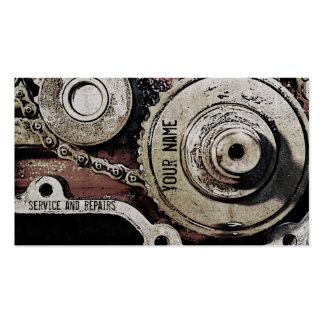 o mecânico repara o modelo de cartão de negócios cartão de visita