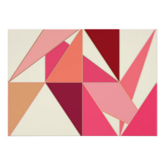 O meio século abstrai, triângulos - coral, bege pôster