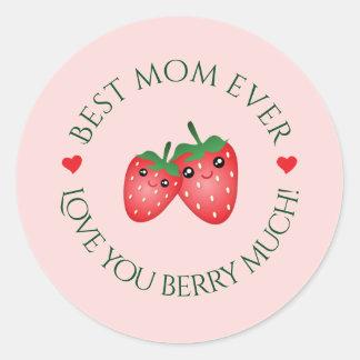 O melhor amor do dia das mães da mamã nunca você adesivo redondo