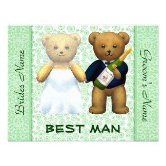 O melhor homem - convite de casamento verde-maçã d