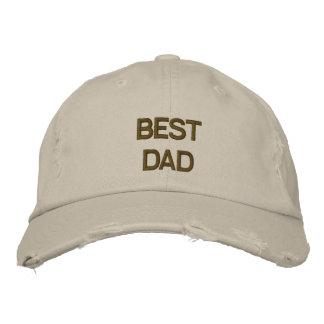 O melhor pai bordou o boné da sarja de tipo de