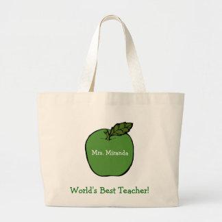 O melhor professor do mundo (verde) sacola tote jumbo