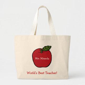 O melhor professor do mundo (vermelho) sacola tote jumbo