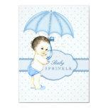 O menino azul do guarda-chuva polvilha o chá de convites personalizados