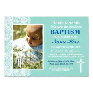 O menino do baptismo do batismo do bebê ou a foto convite 12.7 x 17.78cm