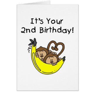 O menino gêmeo Monkeys o segundo aniversário Cartão Comemorativo