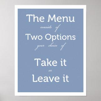 O menu tem duas escolhas pôster