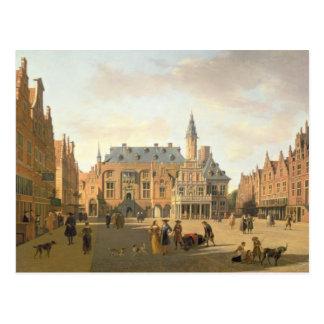 O mercado com o Raadhuis Cartão Postal