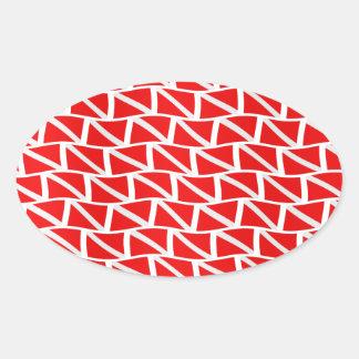 O mergulhador embandeira para baixo adesivo oval