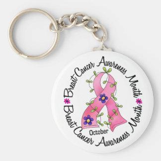 O mês de consciência do câncer de mama chaveiro