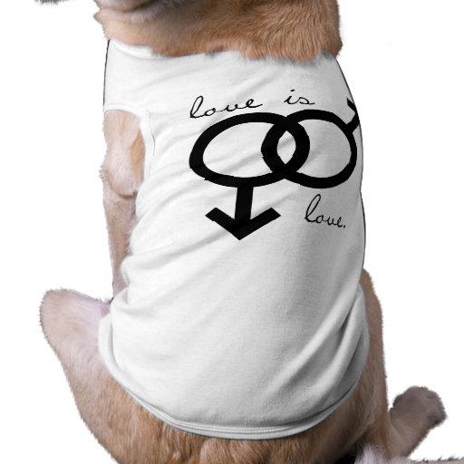 O mesmo sexo amor é amor (os homens) camisa sem mangas para cachorro