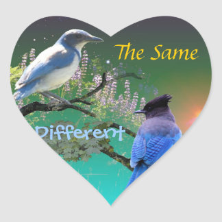 O mesmos & diferente adesivo em forma de coração