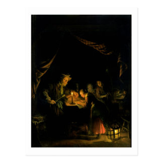 O mestre da escola, 1660-65 (óleo no painel) cartão postal