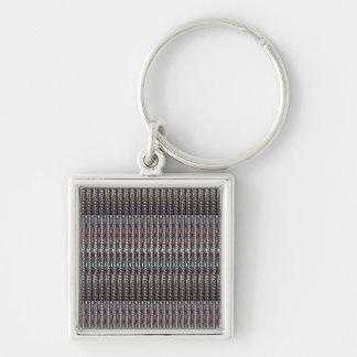 O modelo da arte da textura adiciona a imagem da chaveiro quadrado na cor prata