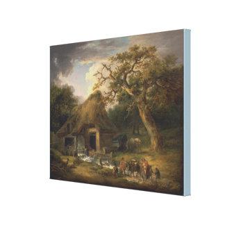 O moinho de água velho por George Morland Impressão Em Canvas