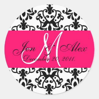 O monograma do casamento do rosa quente nomeia o adesivo