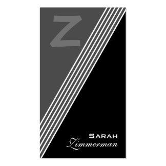 O monograma dobra o cartão de visita cinzento