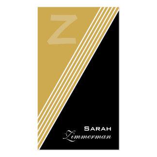 O monograma dobra o cartão de visita do ouro