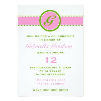 O monograma formal do rosa & do verde limão convite 12.7 x 17.78cm