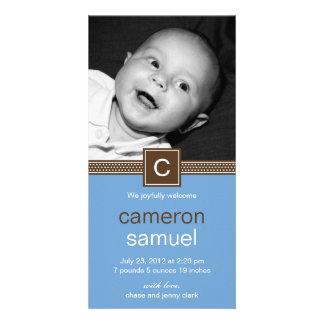 O monograma pontilha o anúncio do nascimento do be cartão com foto