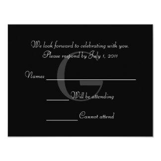 O monograma preto & branco do vintage responde convite 10.79 x 13.97cm