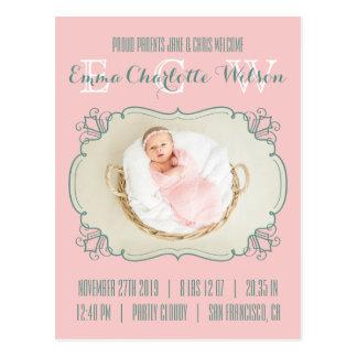 O monograma recém-nascido da foto do bebê cora cartão postal