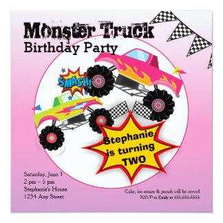 O monster truck caçoa o convite da festa de