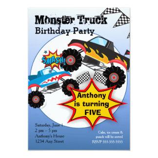 O monster truck caçoa o convite de aniversário dos