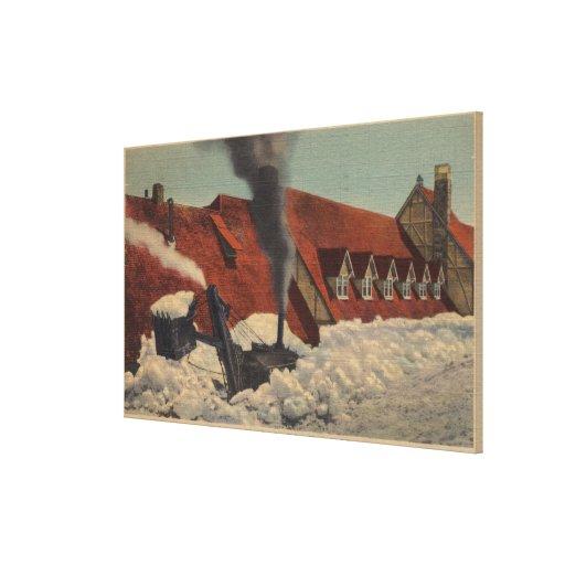 O Monte Rainier, WA - pensão do paraíso Impressão De Canvas Envolvidas