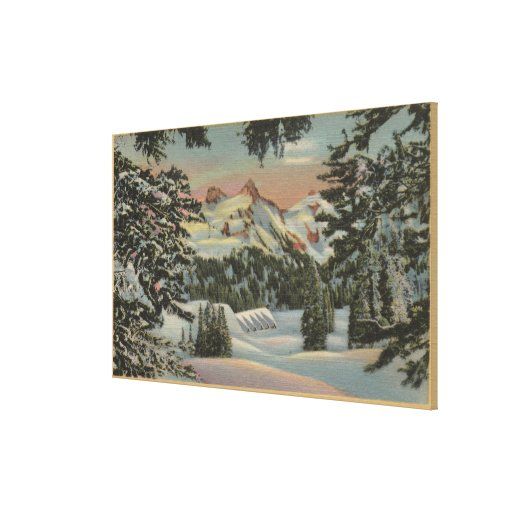 O Monte Rainier, WA - pensão do paraíso & escala d Impressão De Canvas Esticadas