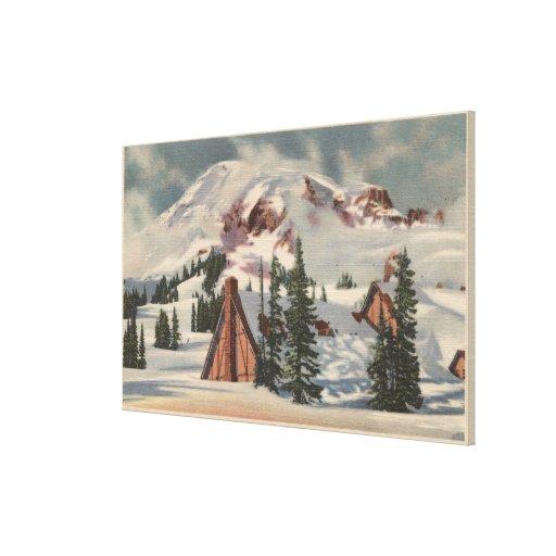 O Monte Rainier, WA - pensão do paraíso no pé Impressão De Canvas Envolvida