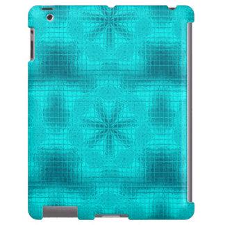 O mosaico floresce a caixa azul do iPad do Aqua Capa Para iPad