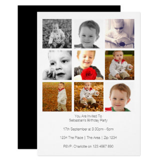 O multi uso personalizou o modelo de nove fotos convite 12.7 x 17.78cm