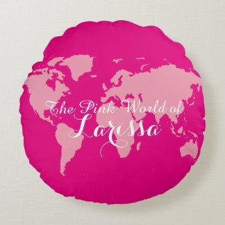 o mundo cor-de-rosa de (seu nome) almofada redonda