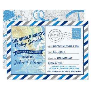O mundo espera o cartão do azul do convite do chá